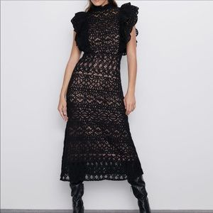 NWT Zara black crochet ruffle sleeve dress, Size M